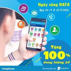 Vinaphone khuyến mãi 100% dung lượng 3G ngày 24/9, 25/9/2016