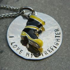 I love my Firefighter with Boot Necklace. $35.00, via Etsy.