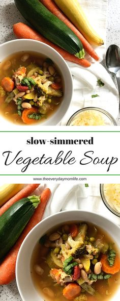 Nutritious, Delicious Slow Simmered Summer Vegetable Soup Recipe. Perfect for meal planning or cooking once and eating twice. Great family dinner recipe or appetizer