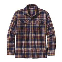 Patagonia Men's Long-Sleeved Fjord Flannel Shirt - Built of heavyweight flannel, the Fjord Flannel Shirt wears soft but tough, and makes a great overshirt when conditions get colder.