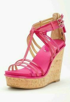 Nine West Romancing Wedge Sandals, I like how the straps are all thinner to give a lighter feel to these Cute Shoes, Me Too Shoes, Wedge Sandals, Pink Sandals, Pink Shoes, Shoe Boots, Shoes Heels, Shoe Closet, Shoe Game