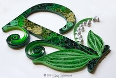 Quilled Lily of the Valley Letter P Monogram