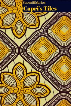 Yellow and Bue African Material with Floral Design!  www.suomiifabrics.etsy.com  #africanfabric #africanfashion #africanmaterial #hollandaiswax #vestitietnici #tessutiafricani #stoffeafricane