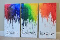 Items op Etsy die op Canvas wall art set Melted Crayon Art Large Canvas Set of 3 Wall art quote Office decor Wall Art Canvas quote Canvas Art Living Room Decor lijken Crayon Canvas Art, Canvas Art Quotes, Diy Canvas, Canvas Wall Art, Large Canvas, Melted Crayon Art, Crayon Melting Crafts, Melting Crayons On Canvas, Painted Canvas Quotes