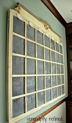 I def want to make this when we buy our home! DIY Chalkboard Wall Calender by Serendipity Refined Calender, Diy Wall, Old French Doors, Home Diy, Diy Chalkboard, Chalkboard Wall, Wood Floor Pattern, Wall Calender, Decorating On A Budget