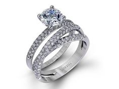Diamond Semi-Mounting Wedding ...CZ 18KW .96CTW SIMON G SEMI-MOUNT WEDDING SET SERIAL 489199
