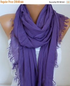 Pale Purple Cotton Soft ScarfTeacher GiftSummer by fatwoman