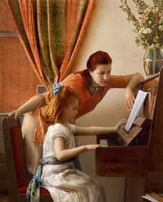 Two Girls at the Piano by cveta