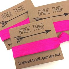 Bachelorette Party Favors Hair Ties // Bride Tribe Fleurescent Fuchsia - Small Gift Her Bridesmaids // MOH - Survival Kit // To Have and To Bachlorette Party, Bachelorette Weekend, Bachelorette Themes, Hen Party Favours, Hen Party Bags, Shower Favors, Shower Invitations, Hen Night Ideas, Hen Ideas