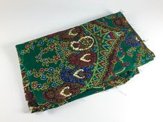 Vintage Paisley Fabric Green Fabric Brown Blue Red Fabric Fall Fabric Retro Floral Fabric Quilting Sewing Craft - pinned by pin4etsy.com