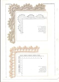 Crochet Border Patterns, Crochet Boarders, Crochet Lace Edging, Crochet Fabric, Crochet Diagram, Crochet Chart, Thread Crochet, Filet Crochet, Crochet Designs