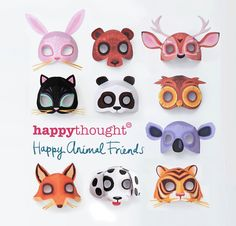 3d paper animal masks - Dog, Cat, Bear, Owl, Fox, Tiger, Deer, Rabbit, Koala and Panda!