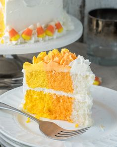 Candy Corn Layer Cake - I Wash You Dry