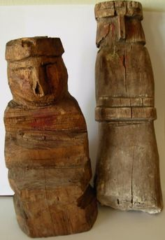 Large Early 1900s Woman& Man Kuna NUCHU Native Medicine Dolls (Uchu) Mola Panama #KunaIndianMedicineManInnatulediShaman