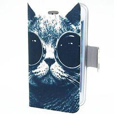 Smart Cat met Ogen PU Leather Case voor iPhone 4/4S – EUR € 6.43