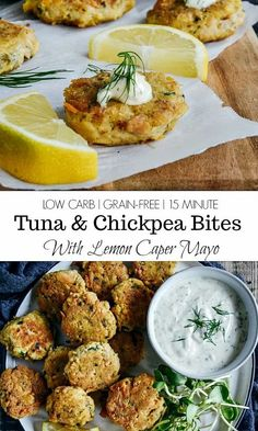 These simple Dill Tuna and Chickpea Appetizer Bites with Lemon Caper Mayo are quick to make, delicious and are perfectly fine served hot or cold. They're also grain-free, gluten-free, dairy-free. #stjudetuna #tunatuna #dilltuna #low-carb #grain-free #glutenfree #dairy-free #tunaappetizer #appetizer #lowcarbappetizer #tunabites #tunaandchickpea