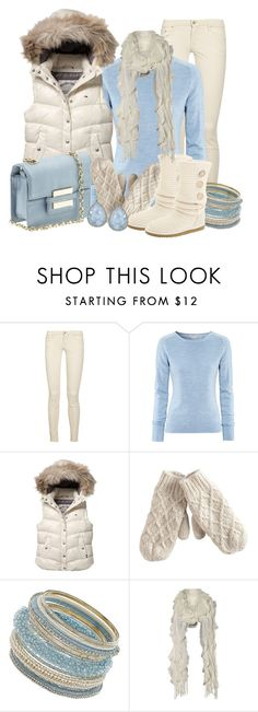 """""""Eskimo Kisses"""" by stylesbyjoey ❤ liked on Polyvore featuring Mother, H&M, Tommy Hilfiger, Pieces, Dorothy Perkins, UGG Australia, Jane Norman, Irene Neuwirth, ruffle scarves and colored jeans"""
