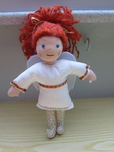Guardian Angel  Angel doll Cecile with auburn mohair wool