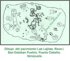 ceramica indigena venezolana - DIBUJO YACIMIENTO las lajitas Roca I San Esteban Pueblo - Puerto Cabello Venezuela