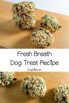 Ready to give Fido's stinky breath a makeover? Our homemade fresh breath dog treat recipe should do the trick! If you're looking for hypoallergenic dog treat recipes, these are great unless your pooch has an oat or egg allergy Pumpkin Dog Treats, Homemade Dog Treats, Healthy Dog Treats, Peanut Recipes, Dog Treat Recipes, Dog Food Recipes, Hypoallergenic Dog Treats, Dog Bakery, Dog Nutrition