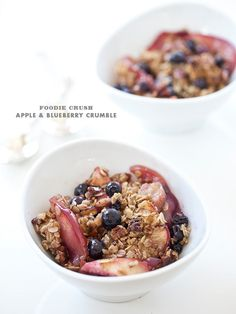 Apple and Blueberry Crumble with Pecans #recipe on foodiecrush.com