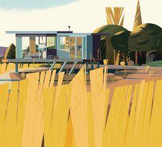Modern Cabin,illustration, art, mid century modern,architecture