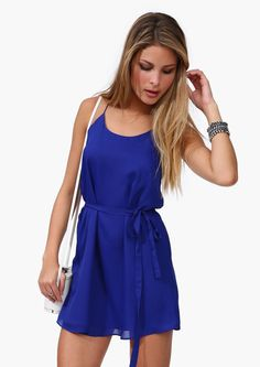 Royal Blue Spaghetti Strap Belt Loose Dress - Fashion Clothing, Latest Street Fashion At Abaday.com