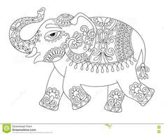 Ethnic Indian Elephant Line Original Drawing, Adults Coloring Bo Stock Vector - Image: 72392505