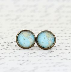 Map Earrings   Map Jewelry With Vintage Map by JacarandaDesigns
