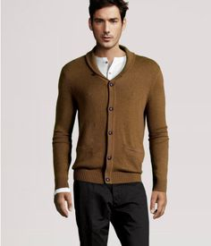 Dark Camel Cardigan. I have one and I love it. I have a matching blazer too, and they look sharp together.