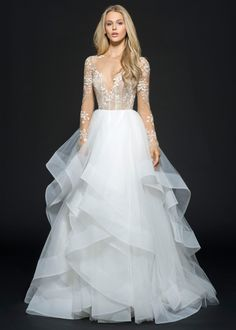 Hayley Paige - STYLE 6654 LORELEI - Rosewater tulle long sleeve bridal ball gown, floral beaded and embroidered bodice with illusion bateau neckline and low open back, cascading tiered skirt with horsehair trim. Also available in ivory.