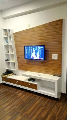 Creative TV wall unit in a living room - Here you will find photos of interior design ideas. Get inspired! Lcd Unit Design, Modern Tv Unit Designs, Lcd Panel Design, Tv Unit Interior Design, Tv Unit Furniture Design, Wall Unit Designs, Modern Tv Wall Units, Living Room Tv Unit Designs, Interior Design Elements