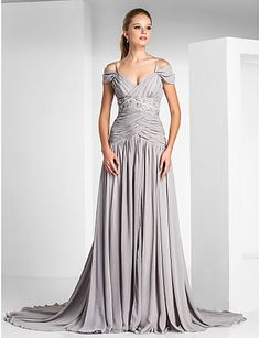 A-line Off-the-shoulder Court Train Chiffon Evening Dress - USD $ 195.99