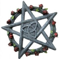 ~Pentagram Rose Pagan Wall Plaque~