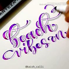 """""""Beach vibes on 🤙! Arteza Fineliner Pens come in a variety of colors and apply smooth, making them ideal for lettering and other calligraphy projects! Art by: letras Fineliner Letter Blends Pencil Calligraphy, Calligraphy Video, Calligraphy Handwriting, Calligraphy Letters, Crayola Calligraphy, Islamic Calligraphy, Hand Lettering Alphabet, Brush Lettering, Graffiti Alphabet"""
