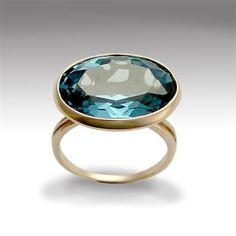 Rose cut Gemstone Engagement ring - 14K rose gold ring inlaid sky blue quartz - Midnight blues.. $600.00, via Etsy.
