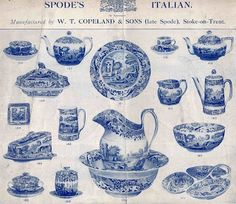 ♥ ~ ♥ Blue and White ♥ ~ ♥ Spode History: Blue Italian early advertisement Blue And White China, Blue China, Love Blue, Italian Pattern, Blue Dishes, White Dishes, Willow Pattern, Blue Rooms, Art Graphique