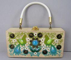 Enid Collins Wooden Box Bag  money tree  ec  Enid Collins