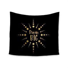 "NL Designs ""Dream Big"" Black Gold Wall Tapestry - KESS InHouse  - 1"