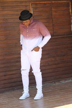 Stylish Mens Fashion, Stylish Mens Outfits, Mens Fashion Suits, Tomboy Fashion, Men's Fashion, Latest African Men Fashion, Dip Dye Shirt, Vertical Striped Shirt, Moda Punk
