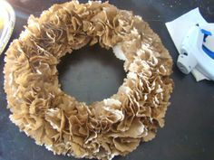 Paper bag wreath. Really pretty even without additional decorations.
