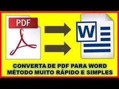 Como Converter PDF em WORD Sem Programa e Rapidamente - 2018 Videos, Software, Internet, Tv, Words, Youtube, Cool Hacks, Household Tips, Thoughts