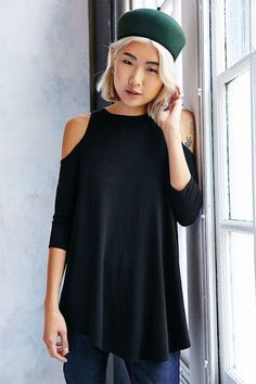 Sexy Off Shoulder Long Sleeve Top Black