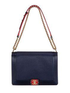 Chanel Navy Embossed Jumbo Cube Boy Bag $6500 Vintage on Gilt
