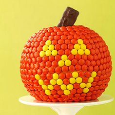 Halloween Party Food: M&M's Pumpkin Cake (via Parents.com)