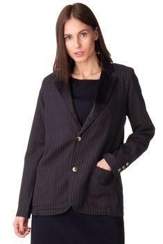 a9737e97e241 LEON   HARPER Blazer Jacket Size M Pinstripe Pattern Contrast Satin Lapel   fashion  clothing  shoes  accessories  womensclothing  coatsjacketsvests  (ebay ...