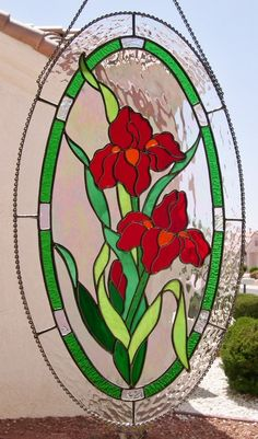 Stained Glass Oval Red Iris Flowers