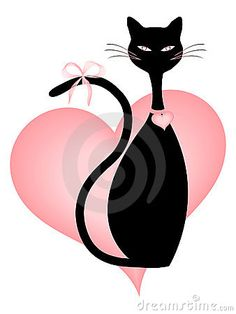 Black Cat and Pink Hearts, with heart shaped Eyes by Smartcooky, via Dreamstime