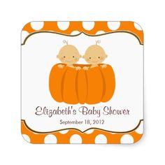 Cute Twin Boys Pumpkin Baby Shower Square Sticker!