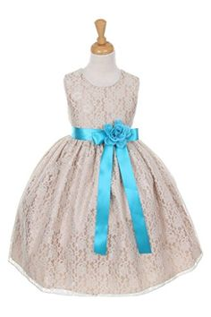 Cinderella Couturechampagne lace dress with satin ribbon sash and flower corsage tiffany 14 >>> Check out the image by visiting the link.